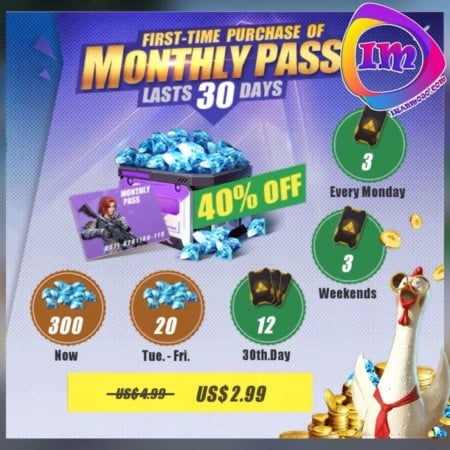 پک monthly pass(درهراکانت۱بارقابل خریداست)
