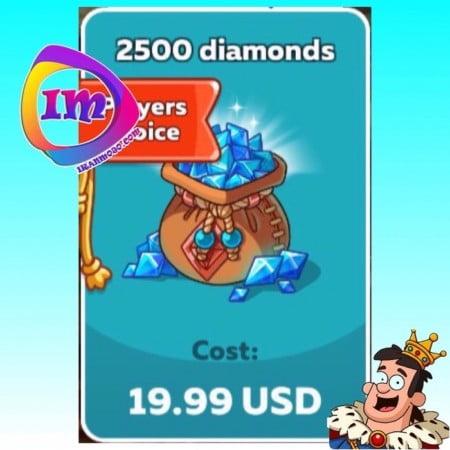 ۲۵۰۰ الماس Hustle Castle(شامل۵۰۰۰ الماس دراولین خرید)