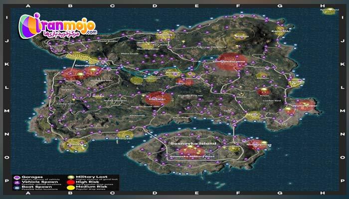 مکان های مخفی مپ ارانگل Erangel در بازی پابجی موبایل